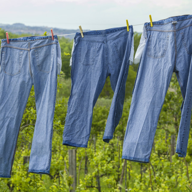 """Jeans drying on a line"" stock image"