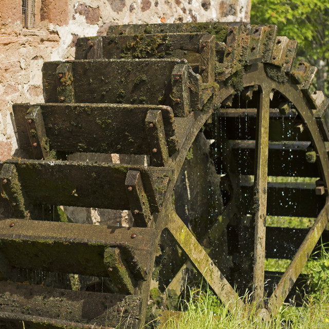 """Water Wheel at Preston Mill"" stock image"
