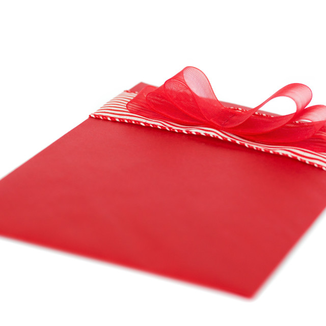 """""""Red gift envelope with ribbon"""" stock image"""