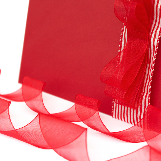 """""""Red gift envelope with ribbons"""" stock image"""