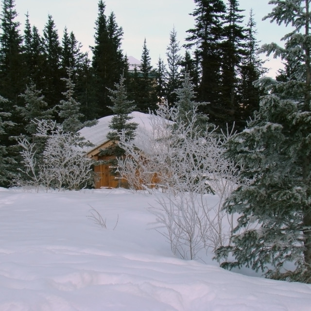 """""""Cabin in the Winter Snow"""" stock image"""