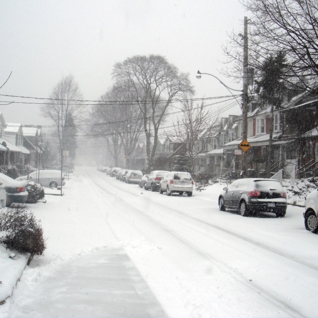 """""""Snow Storm in the City"""" stock image"""
