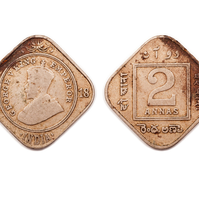 """""""Two Annas coin from India dated 1918."""" stock image"""