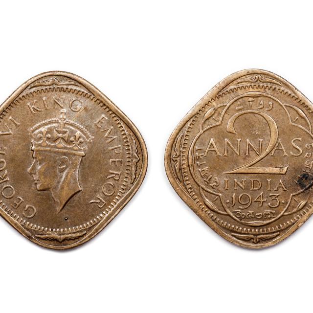 """""""Two Annas India 1943"""" stock image"""