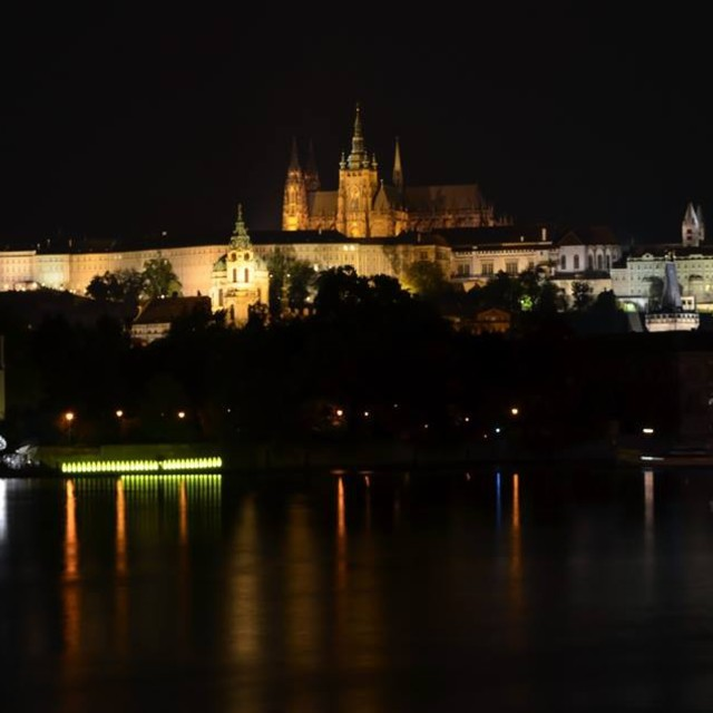 """Prague Castle by night"" stock image"