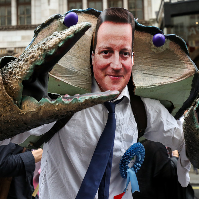 """Anti-Austerity - David Cameron"" stock image"