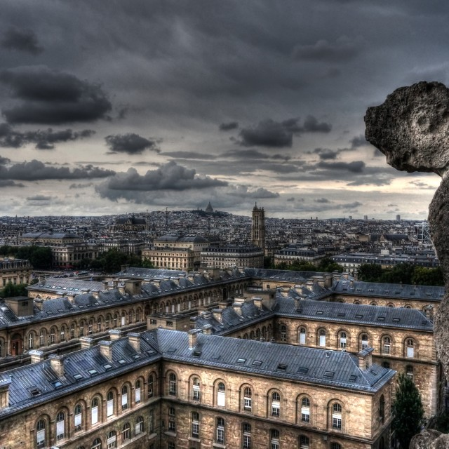 """Notre Dame Gargoyle with Sacre Cour in Distance"" stock image"
