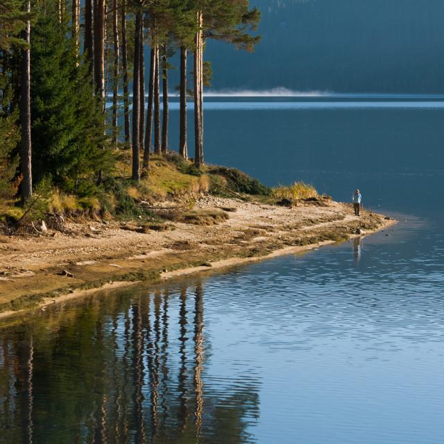 """Fisherman at the lake"" stock image"