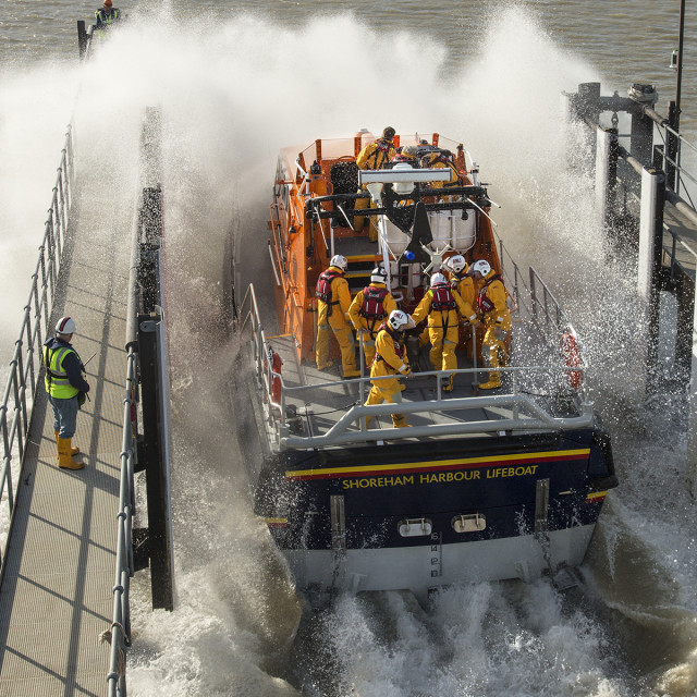 """Lifeboat launch 1"" stock image"