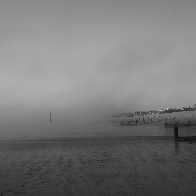 """misty beach"" stock image"