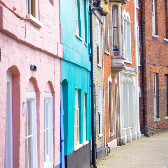 """Colorful cottages"" stock image"