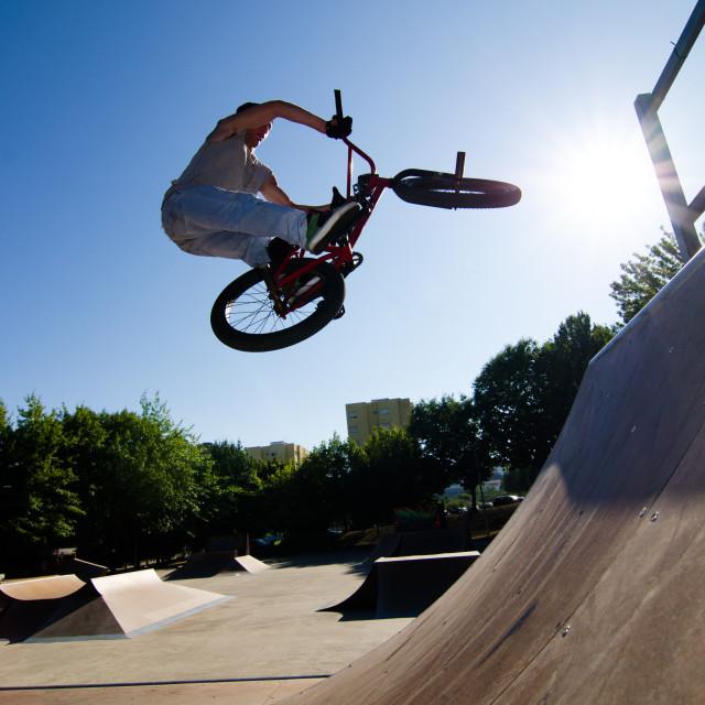 """BMX Bike Stunt bar spin"" stock image"