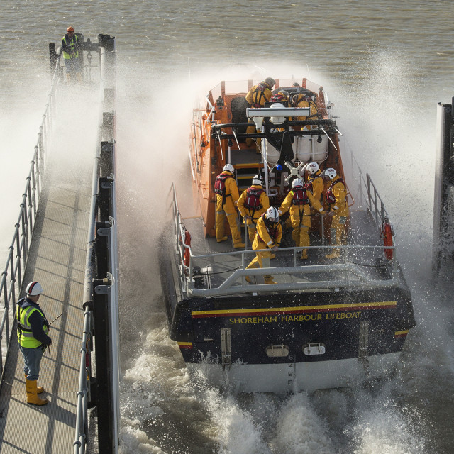 """Shoreham Lifeboat Launch Image 2"" stock image"