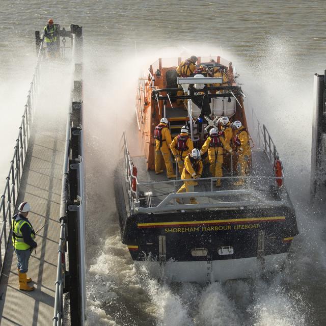 """""""Shoreham Lifeboat Launch Image 2"""" stock image"""