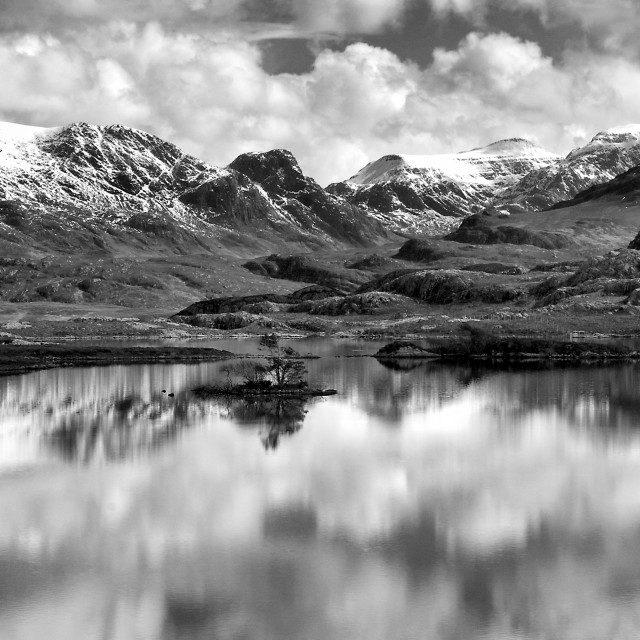"""Panoramic image of Loch Tollaidh, Scotland"" stock image"