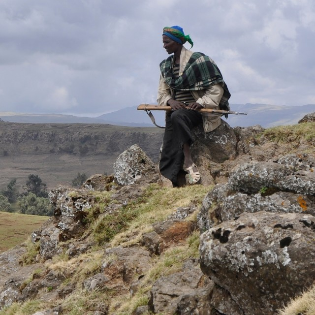 """Trekking scout in the Simien Mountains"" stock image"