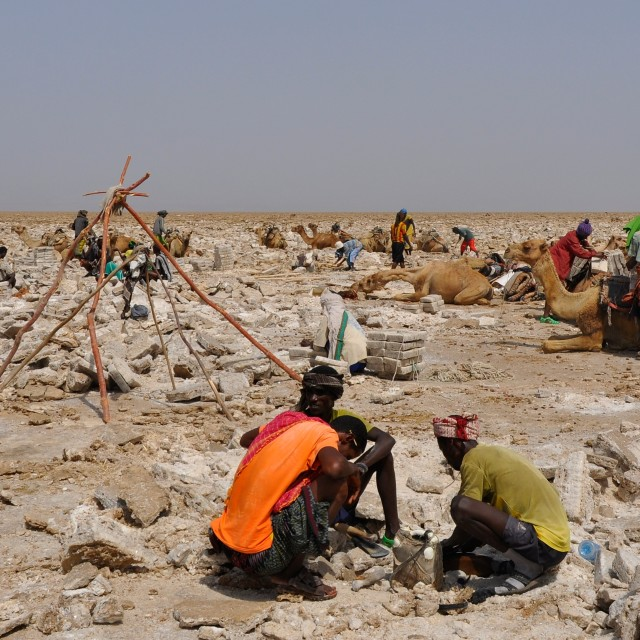 """Salt mining in the Danakil Depression"" stock image"