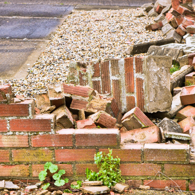 """Collapsed brick wall"" stock image"