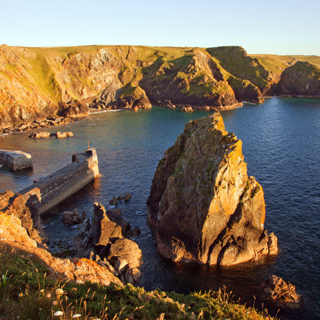 """""""Mullion Cove in early evening sunlight"""" stock image"""