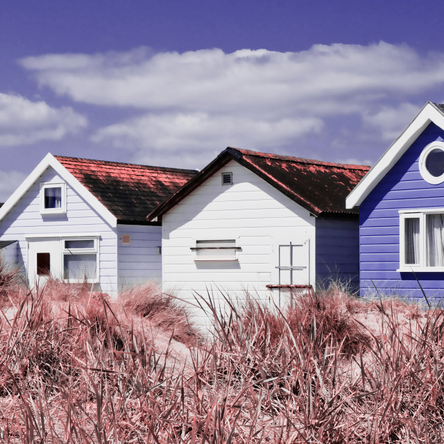 """Beach Huts Purple"" stock image"