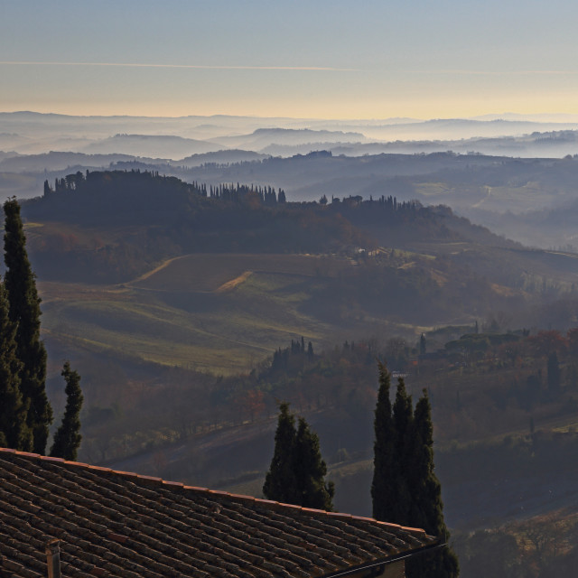 """Val d'Orcia in a cold morning"" stock image"