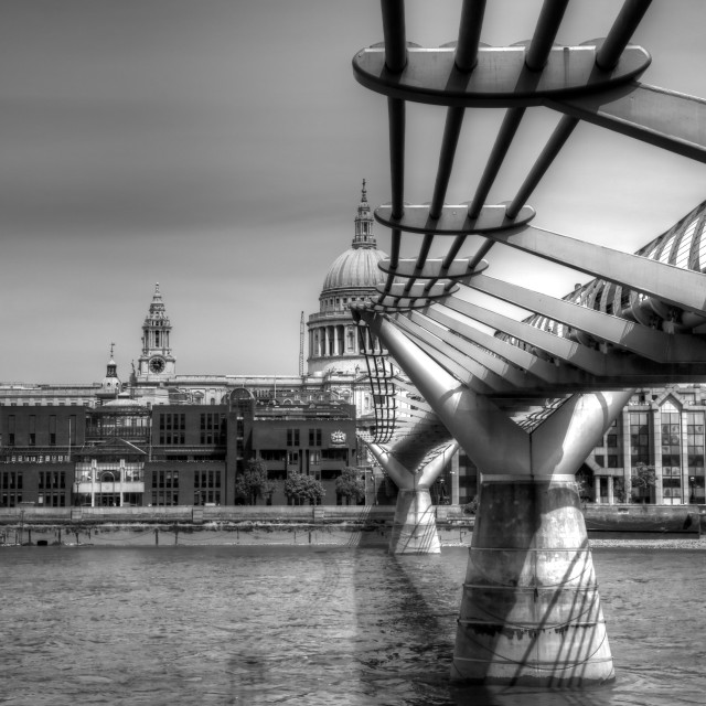 """Millennium Bridge and St Paul's Cathedral"" stock image"