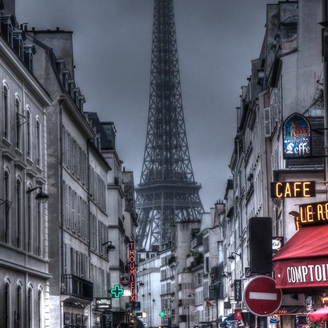 """rue Saint-Dominique on Rainy Paris Day"" stock image"