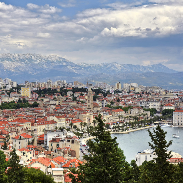 """View of Split from Mount Marjan in the west of the Croatian city"" stock image"
