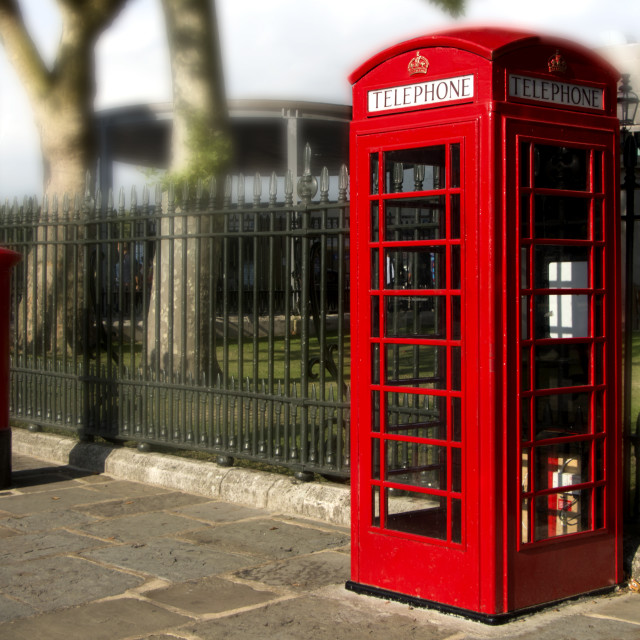 """""""British Red Telephone and Mail Pillar"""" stock image"""