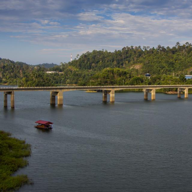 """Lake Temenggor Bridge to Banding Island"" stock image"