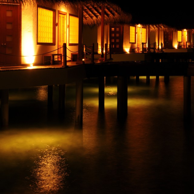 """Maldives, Meedhupparu in the Night 2"" stock image"
