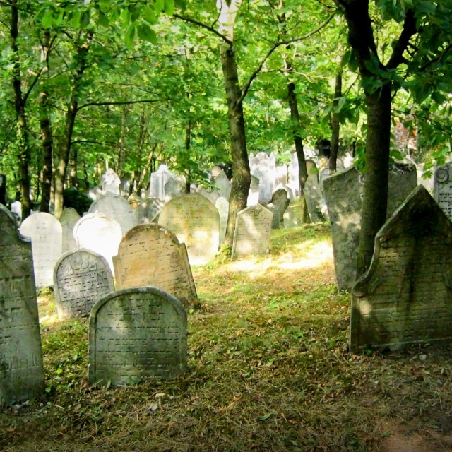 """""""The Old Jewish cemetery in Mikulov"""" stock image"""