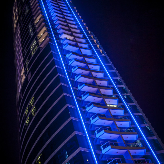 """Skyscraper at night"" stock image"