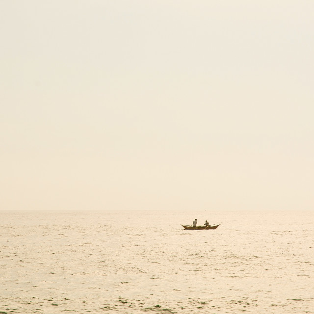 """""""Small boat in tranquil beach landscape"""" stock image"""