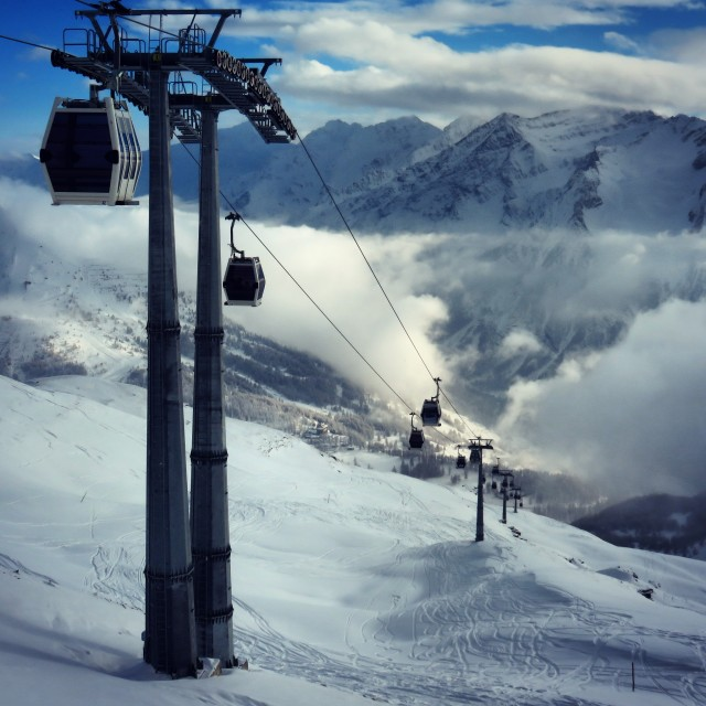 """Ski Lift Above Sestriere"" stock image"