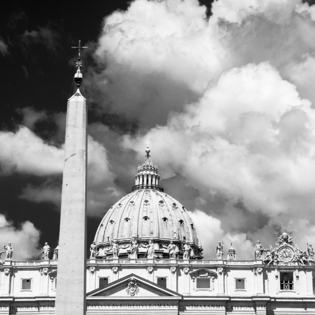 """St Peter cathedral and obelisk in dramatic black and white"" stock image"