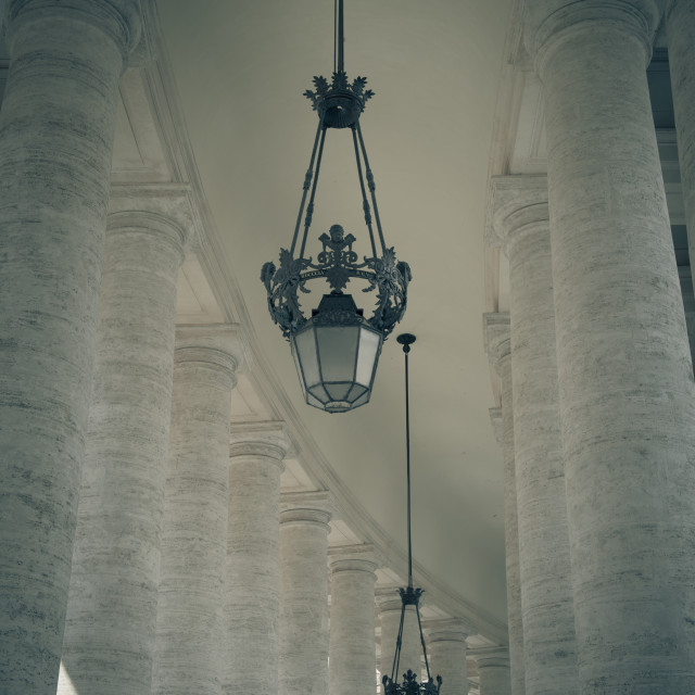 """St Peter square Bernini's colonnade"" stock image"