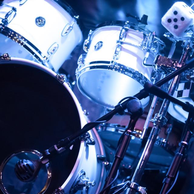 """drumkit on stage"" stock image"