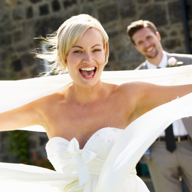 """""""Romantic Bride And Groom Outdoors"""" stock image"""