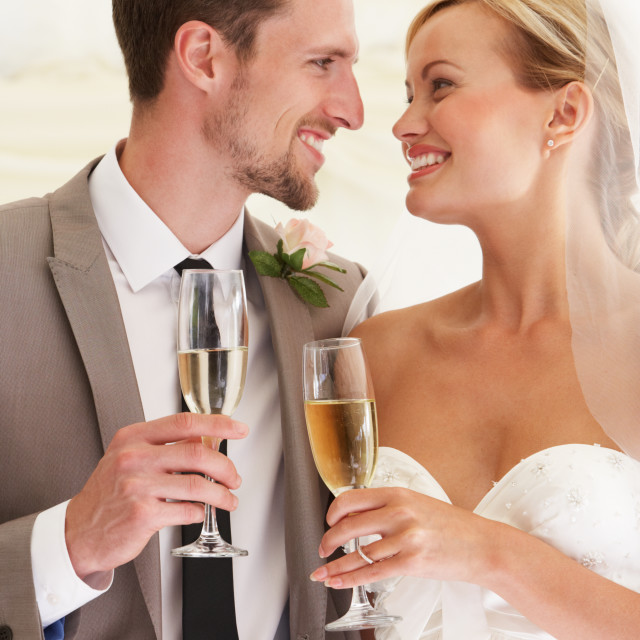 """""""Bride And Groom Drinking Champagne At Wedding"""" stock image"""