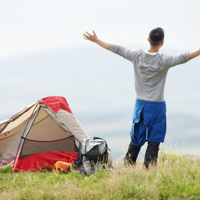 """""""Young Man On Camping Trip In Countryside"""" stock image"""
