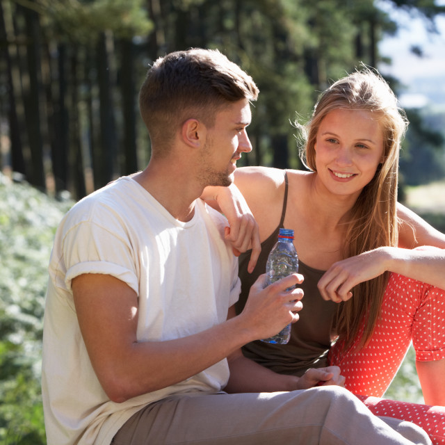 """""""Young Couple Enjoying Picnic In Countryside"""" stock image"""