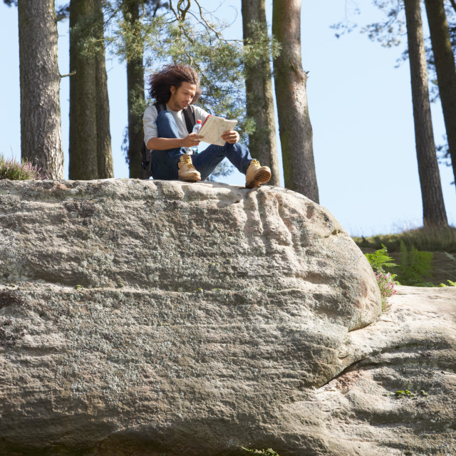 """""""Man Resting During Countryside Hike"""" stock image"""