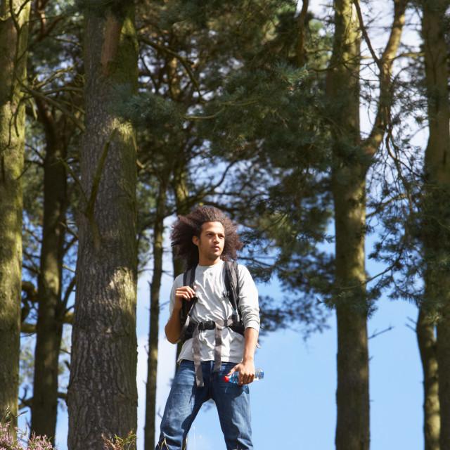 """""""Man Hiking Through Countryside"""" stock image"""