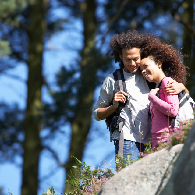 """""""Young Couple On Hike In Countryside"""" stock image"""