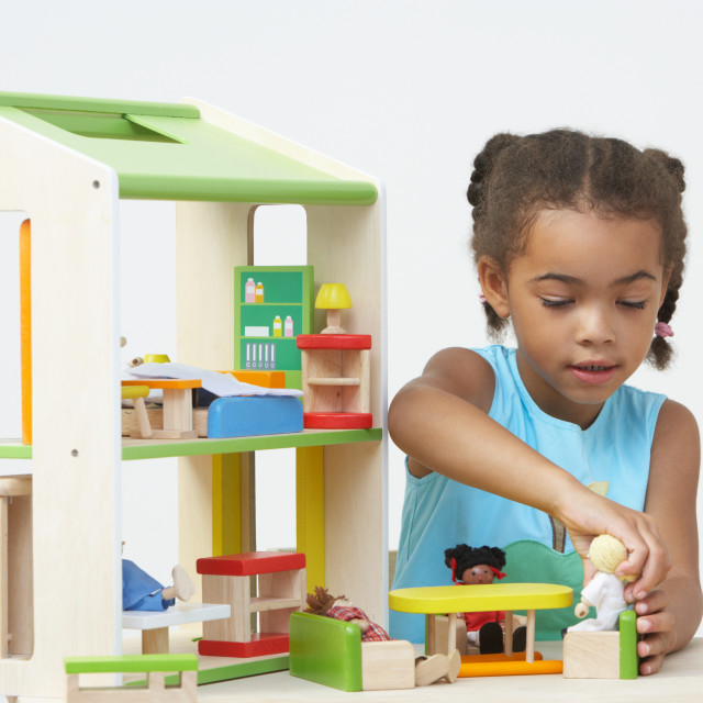 """""""Pre-School Pupil Playing With Wooden House"""" stock image"""
