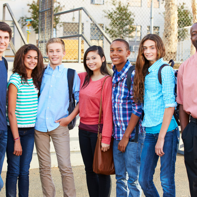 """""""Group Of Teenage Pupils With Teacher Outside Classroom"""" stock image"""