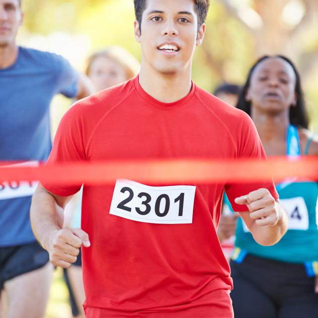 """""""Male Runner Winning Marathon"""" stock image"""