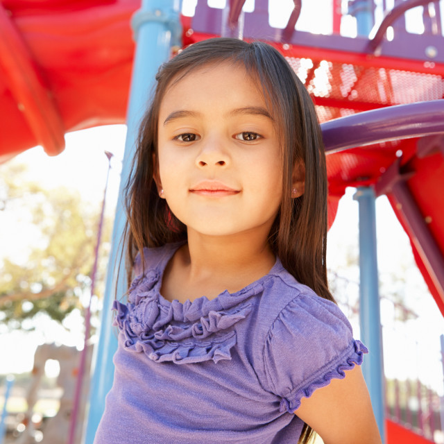 """Girl On Climbing Frame In Park"" stock image"