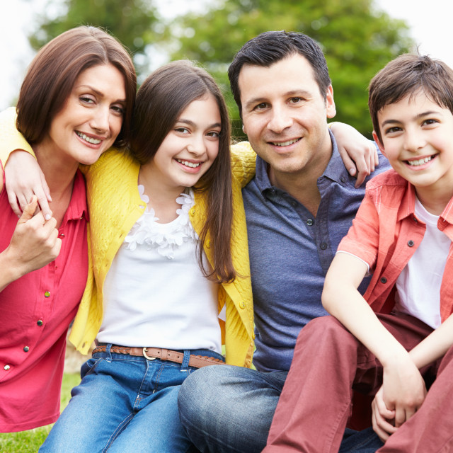 """""""Portrait Of Hispanic Family In Countryside"""" stock image"""